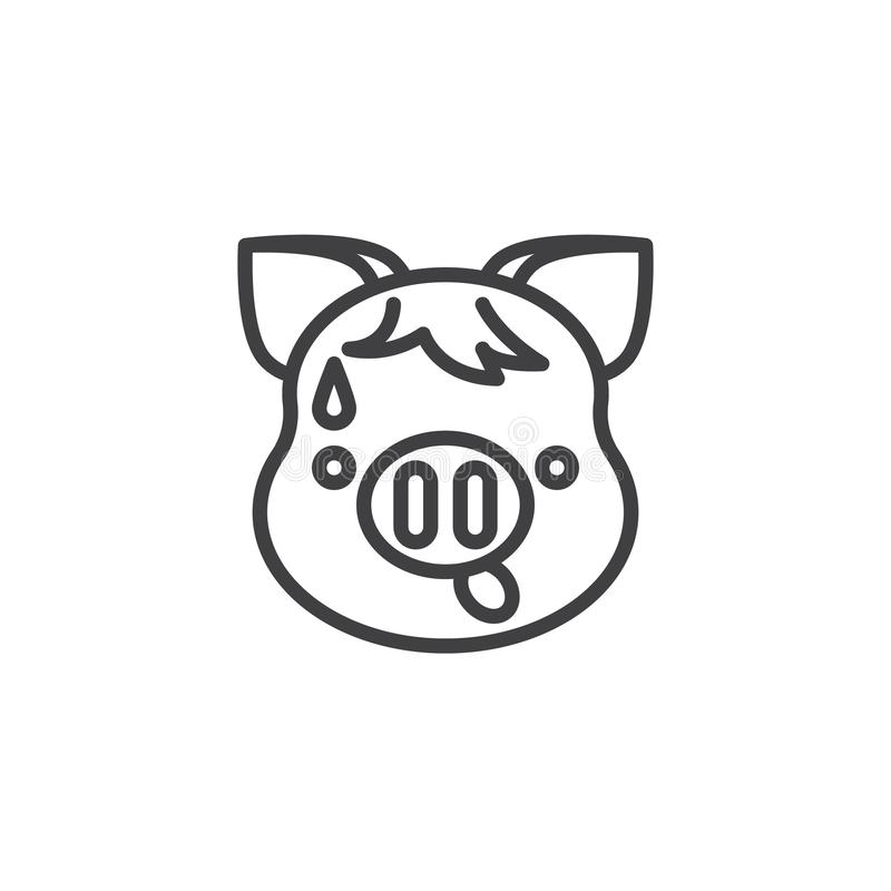 Anxious Piggy Face With Sweat Emoji line icon. Linear style sign for mobile concept and web design. Worried piggy face emoticon outline vector icon. New year royalty free illustration