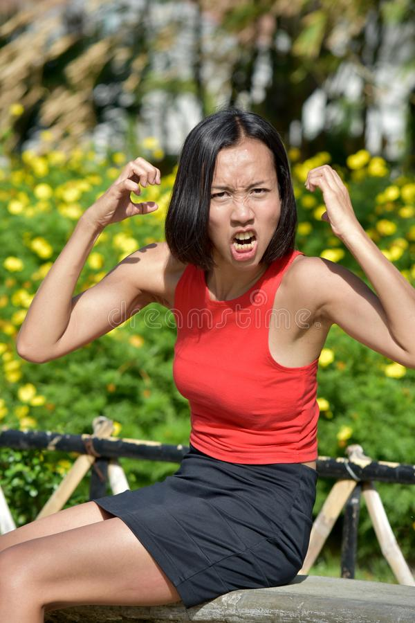 Anxious Youthful Minority Female Woman. An attractive and asian person stock photos
