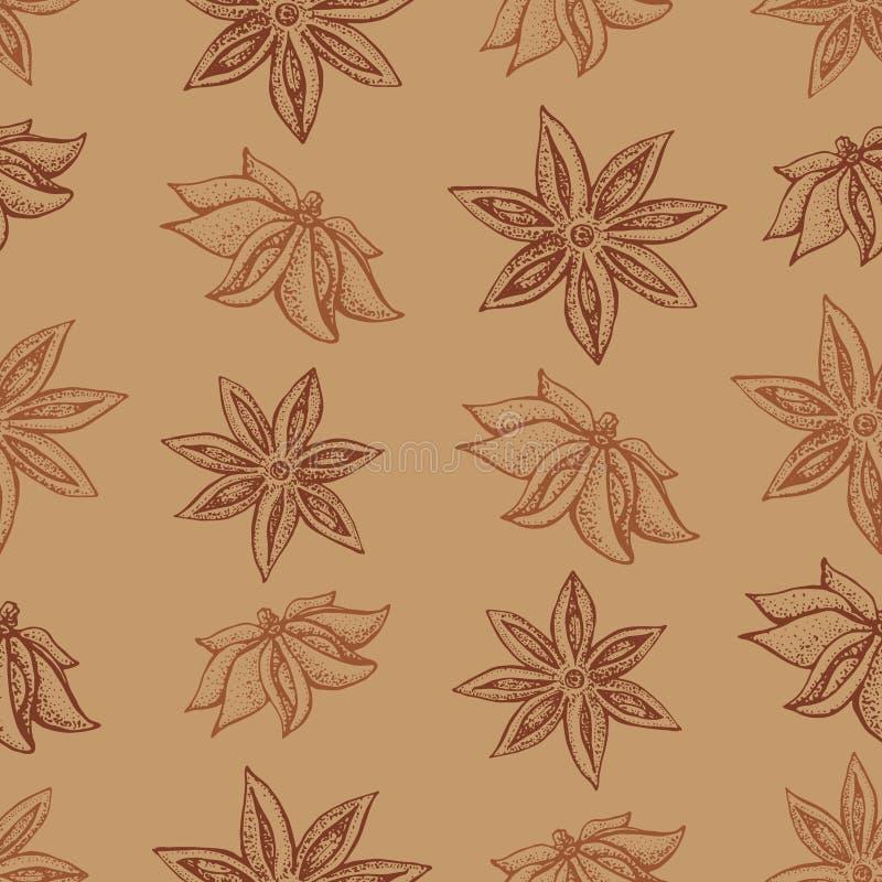 Anyż gwiazda, badian bezszwowy wzór Sezonowa karmowa wektorowa ilustracja na brązu tle Ręka rysujący nakreślenie pikantność royalty ilustracja