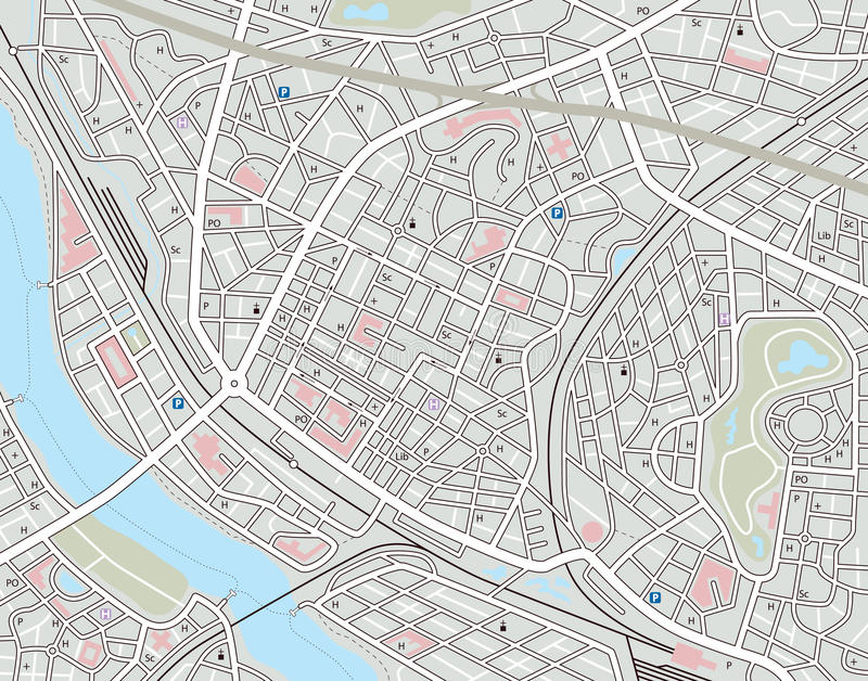 Any city map. Editable map of a generic city with no names royalty free illustration