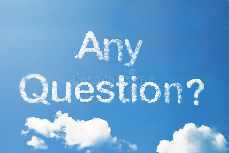 Any Question? a cloud word on sky royalty free stock photos