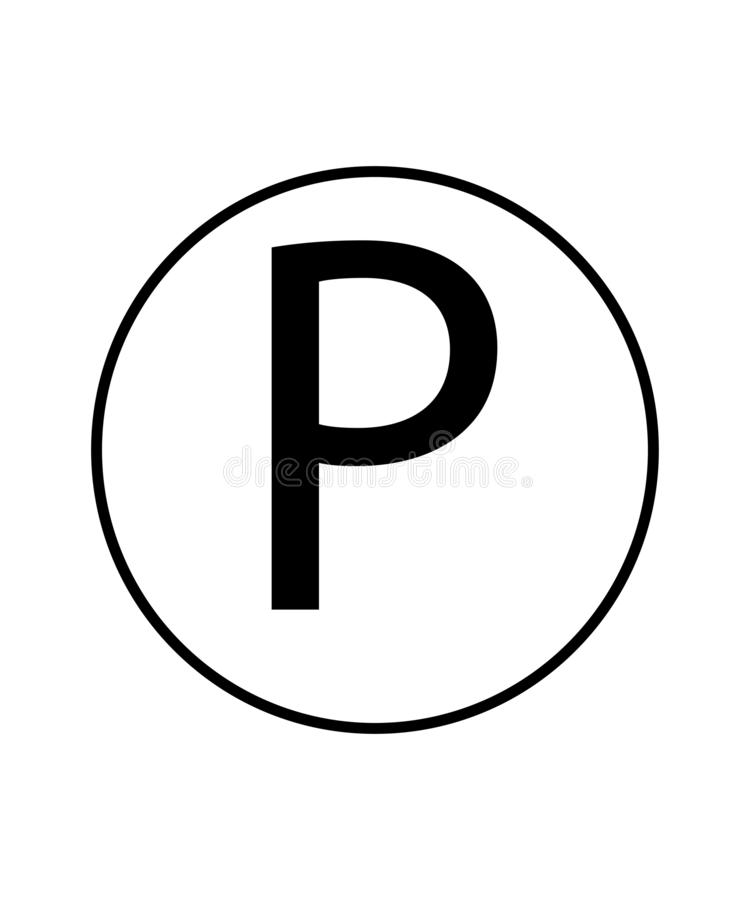 Any solvent except tetrachlorethylene sign. Laundry symbol.Letter P in a circle sign. Eps ten stock illustration