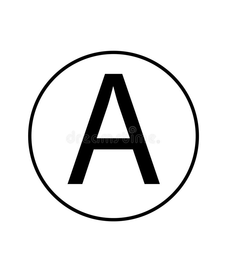 Any solvent sign. Laundry symbol.Letter A in a circle sign. Eps ten royalty free illustration