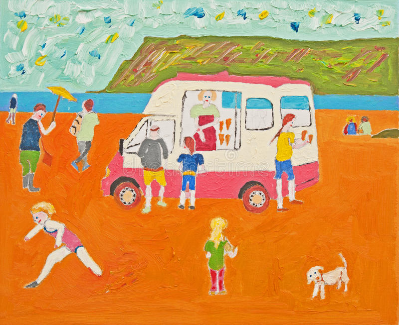Download Anybody For Ice Cream ? Oil On Canvas. Stock Illustration - Illustration of seaside, drawn: 27887073
