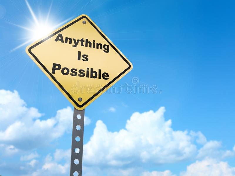 Anything is possible sign. On blue sky background,3d rendered royalty free illustration