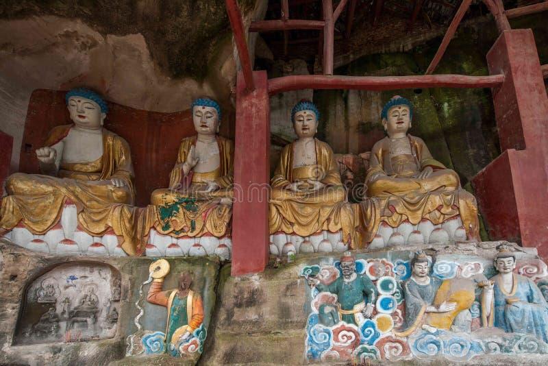 Anyue-Grafschaft, Sichuan-Provinz im Nordsong-dynastie-Pfauhöhlentempel stellte drei Buddha die Höhle, Höhle Buddha Guanyin Sut h lizenzfreie stockfotografie