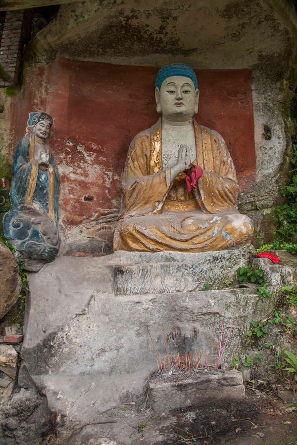 Anyue-Grafschaft, Sichuan-Provinz im Nordsong-dynastie-Pfauhöhlentempel stellte drei Buddha die Höhle, Höhle Buddha Guanyin Sut h lizenzfreie stockfotos