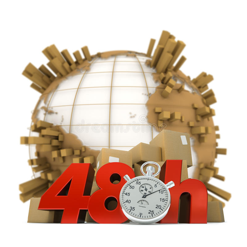 Anywhere in 48 Hrs. 3D rendering of the Earth full of packages a pile of boxes and the words 48 Hrs and a chronometer stock image