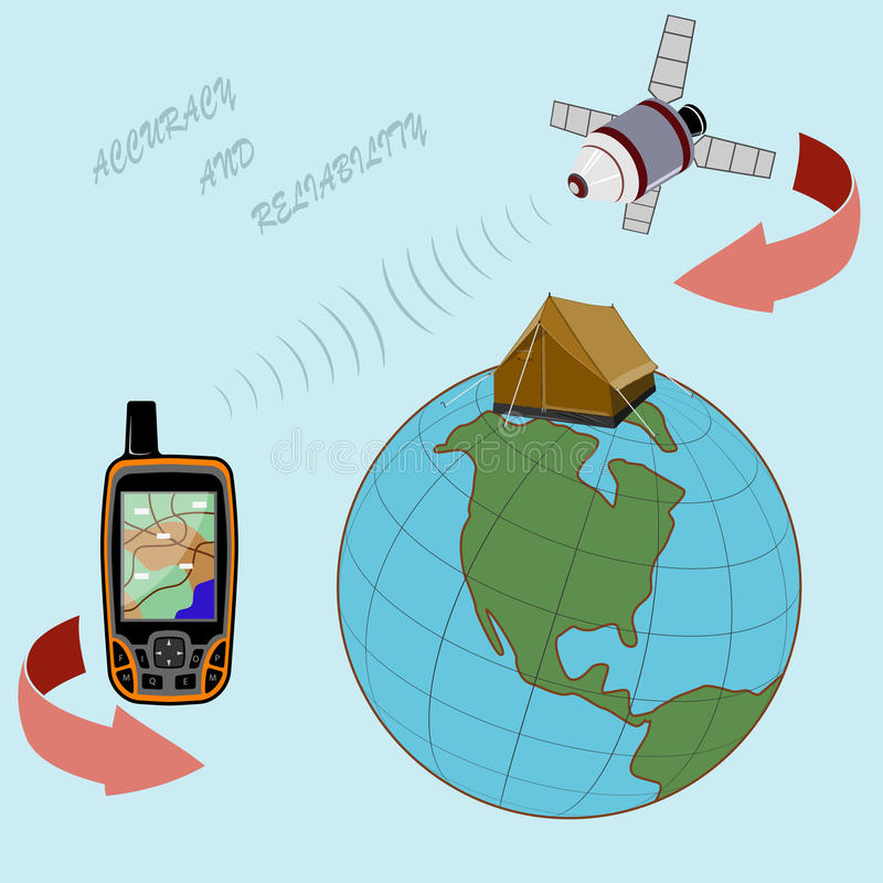 Anywhere in the world you will have a reliable navigator. Navigator for locating on the ground. The globe, the satellite flies and signals. To all who love vector illustration