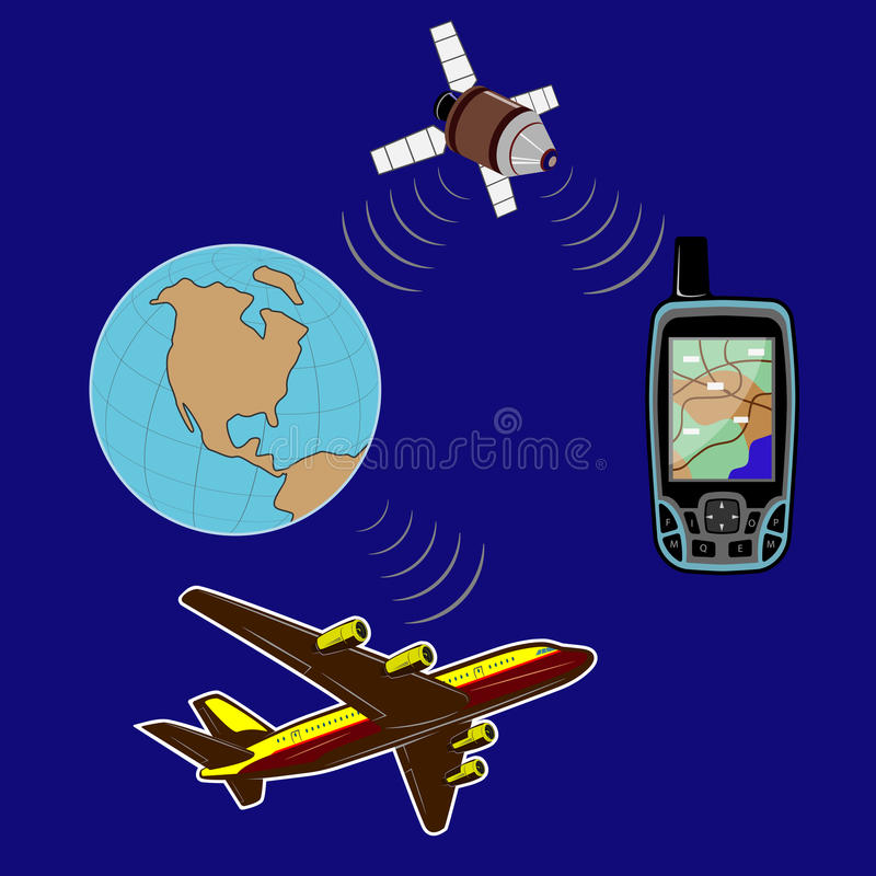 Anywhere in the world you will have a reliable navigator. Navigator for locating places on the terrain. The globe, the plane flies and the satellite signals. To royalty free illustration