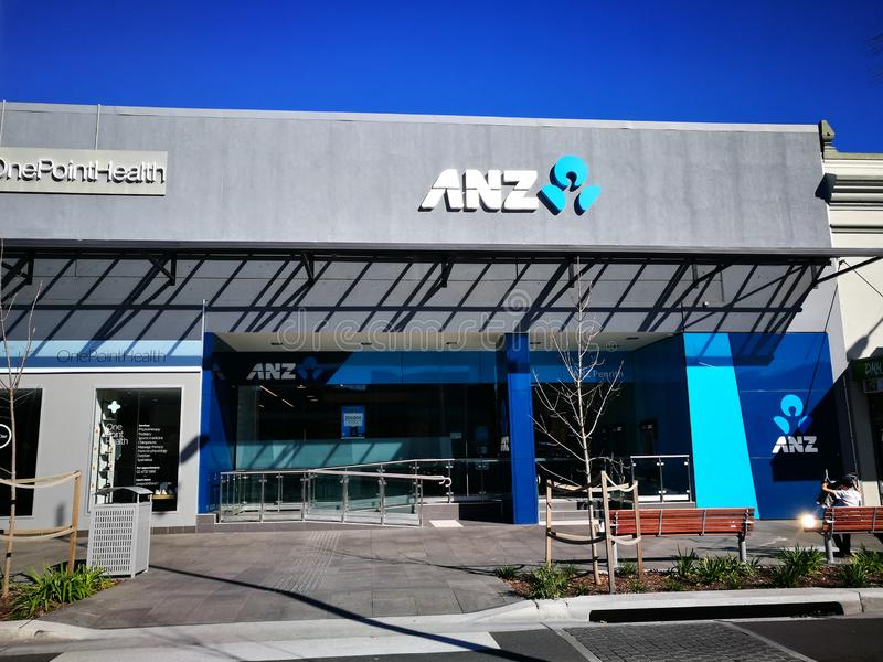 ANZ bank Nowa Zelandia Ograniczający, działa gdy filia Australia i Nowa Zelandia bankowość grupa rozgałęzia się na Penrith tereni fotografia stock
