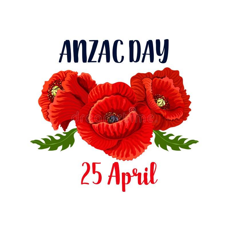 Anzac ημέρας αυστραλιανό εικονίδιο στις 25 Απριλίου παπαρουνών διανυσματικό ελεύθερη απεικόνιση δικαιώματος