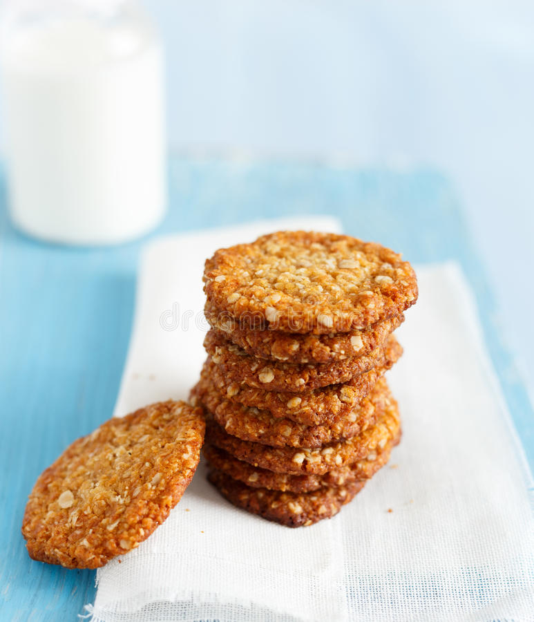 Anzac Biscuits. An Anzac biscuit is a sweet biscuit, popular in Australia and New Zealand, made using rolled oats, flour, desiccated coconut, sugar, butter stock photography