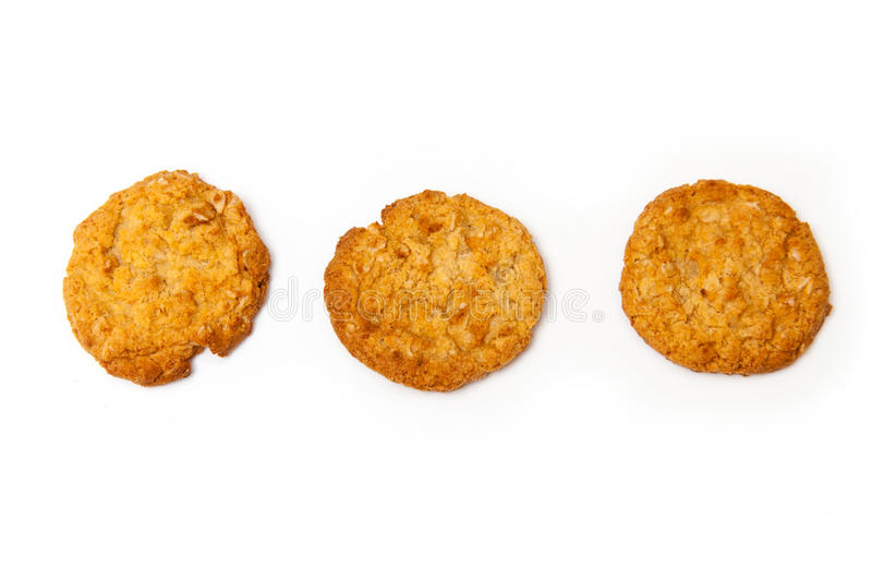 Anzac biscuits on a white background. stock image