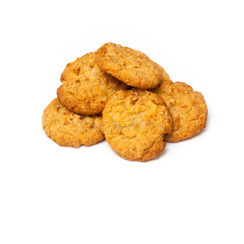 Anzac biscuits on a white background. stock photography