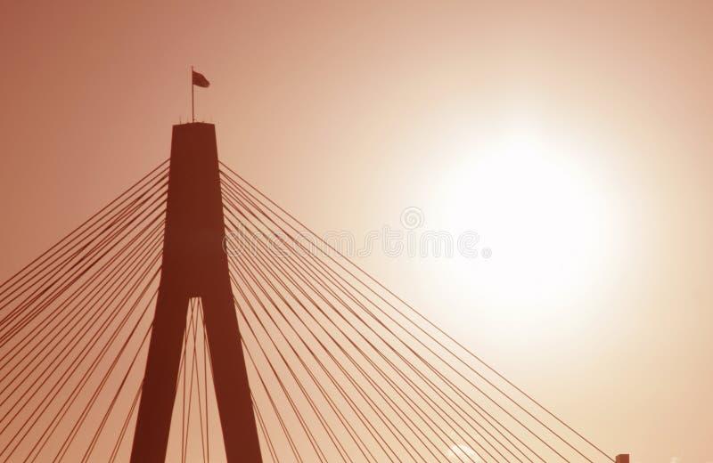 Anzac Brücke in der Abend-Leuchte lizenzfreie stockfotografie