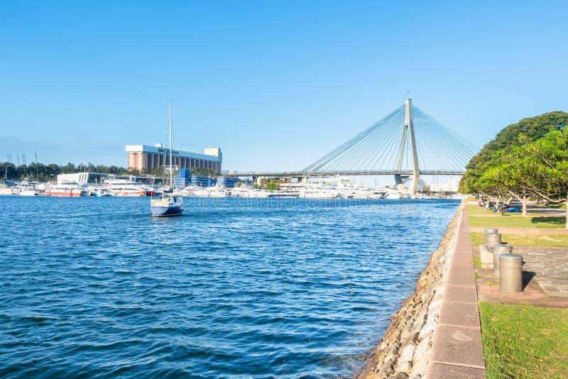 Anzac Bridge-haven Sydney Australia stock foto