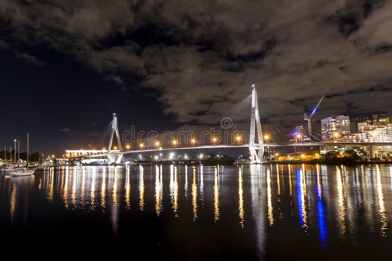 Download ANZAC Bridge at night editorial stock image. Image of sydney - 33808189
