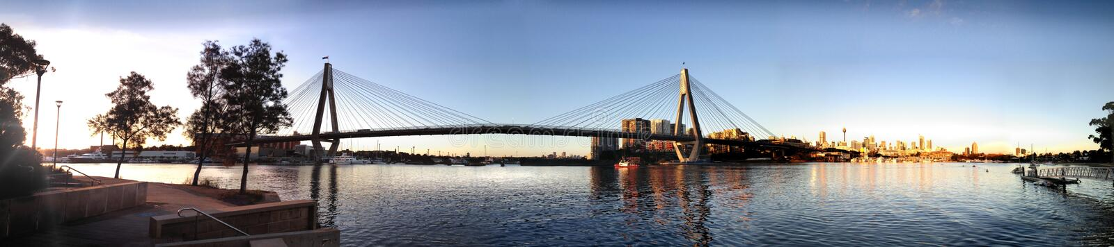 Anzac Bridge Sunset image stock