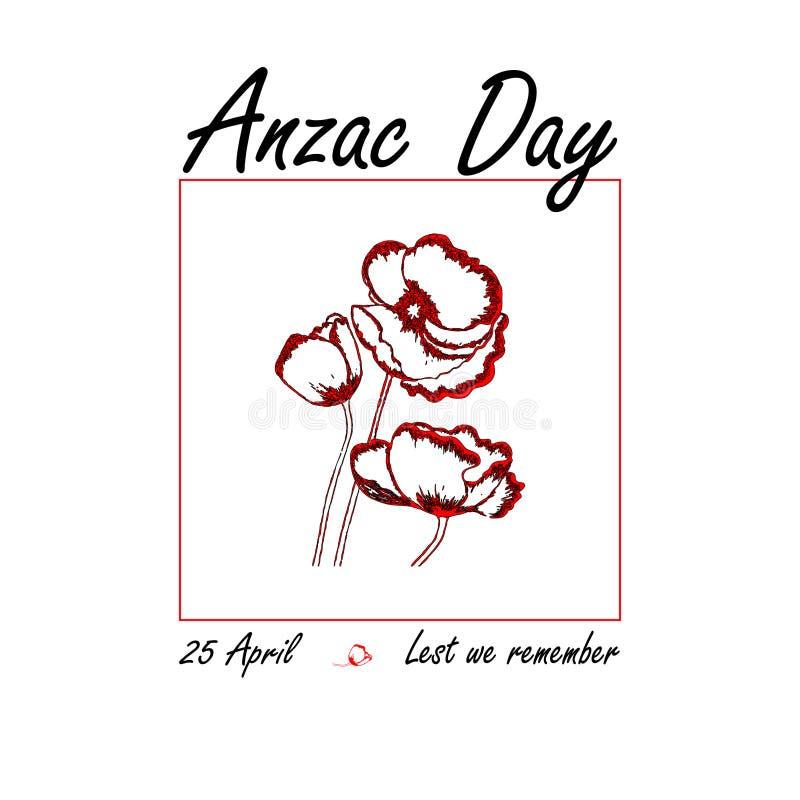 Anzac dag vijfentwintigste van April-herinnering op roze en rode achtergrond royalty-vrije illustratie