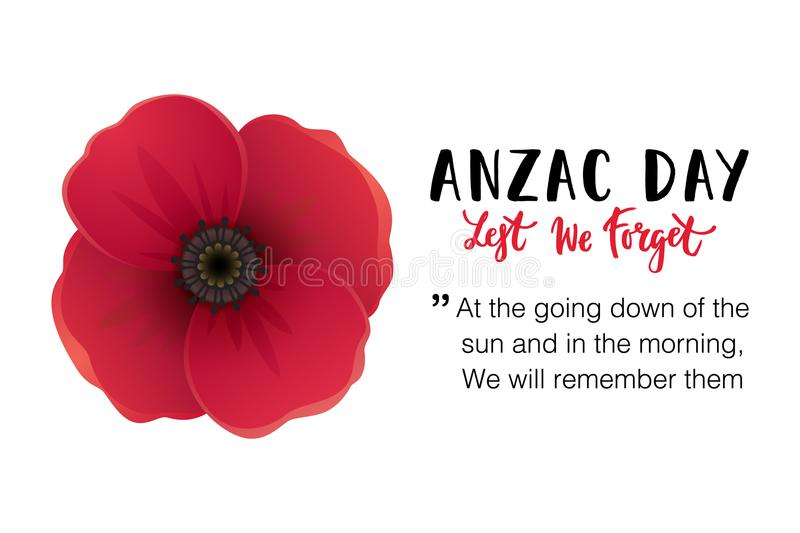 Anzac dagkort royaltyfri illustrationer