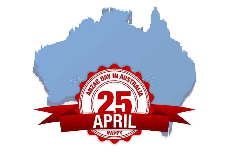 Anzac day australia. vector illustration australia map background royalty free illustration
