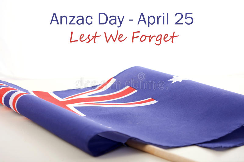 ANZAC Day Australian Folded Flag stock photo