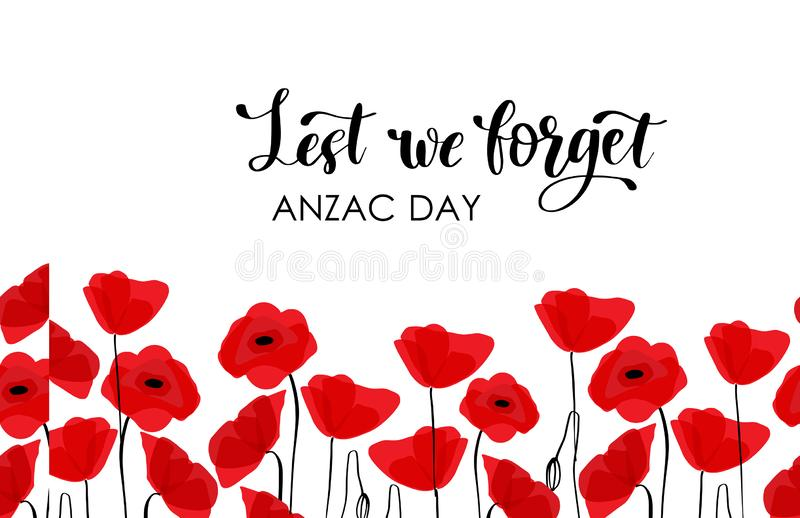 Anzac Day Australien nyazeel?ndsk arm?k?r vektor illustrationer