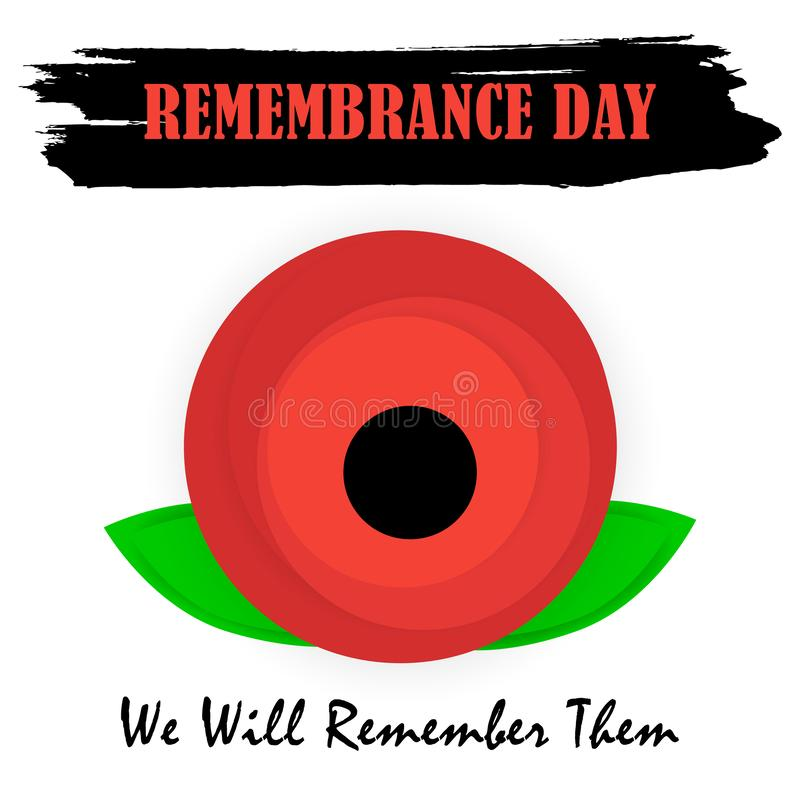 ANZAC DAY banner design with space for text. Remembrance day symbol. Card with red poppies and lettering text. Vector illustration stock illustration