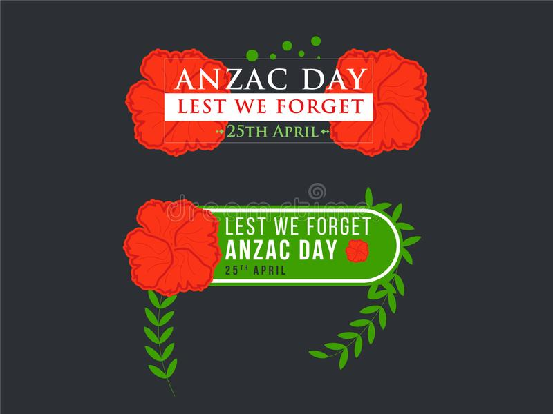 Anzac Day Banner with Red Poppy Flower royalty free illustration