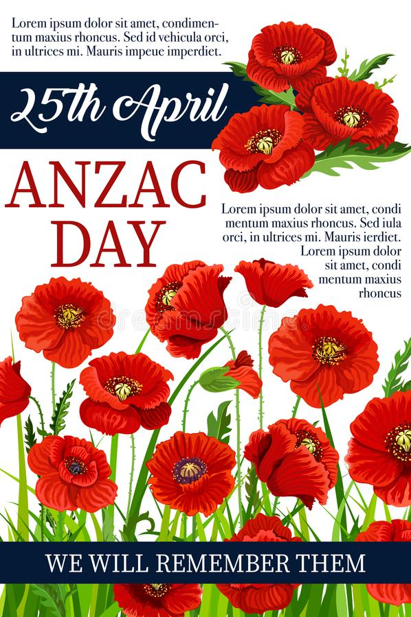 Anzac Day cartaz da memória da guerra do vetor da papoila do 25 de abril ilustração royalty free