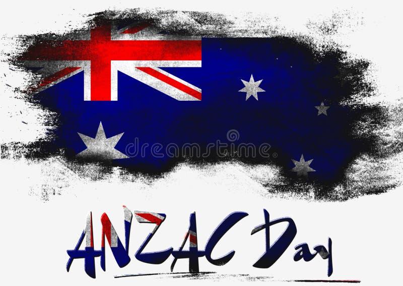 ANZAC Day com bandeira de Austrália ilustração stock