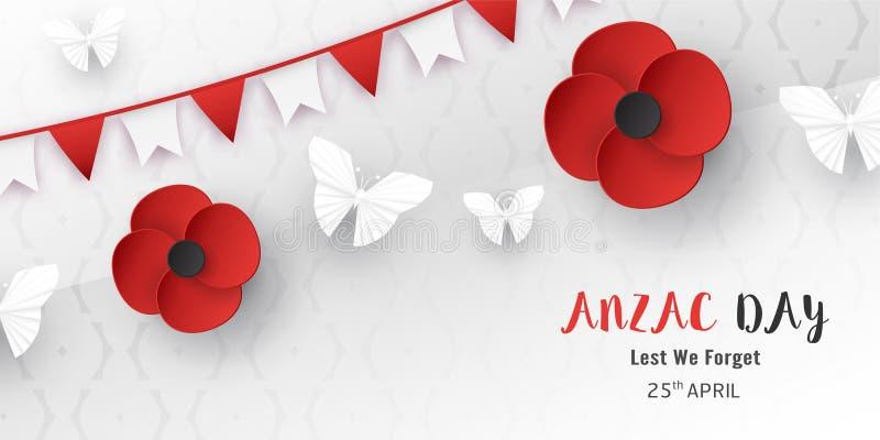 Anzac Day felice il 25 aprile per chi ? servito e morto nella guerra della Nuova Zelanda e dell'Australia Progettazione dell'elem illustrazione vettoriale