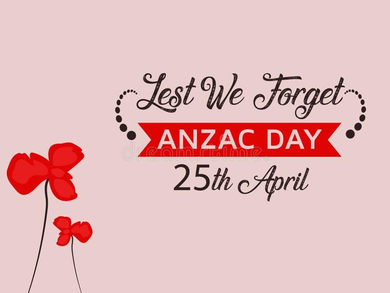 Anzac Day Illustration con il fondo rosso piacevole del fiore del papavero illustrazione di stock