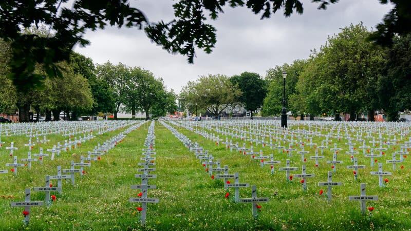 Anzac Day Jardim da relembrança, Christchurch, Nova Zelândia fotografia de stock
