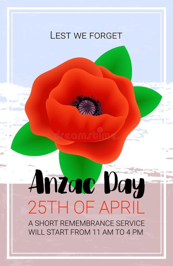 Anzac Day Lest We Forget-banner De affiche van de herinneringsdienst royalty-vrije illustratie