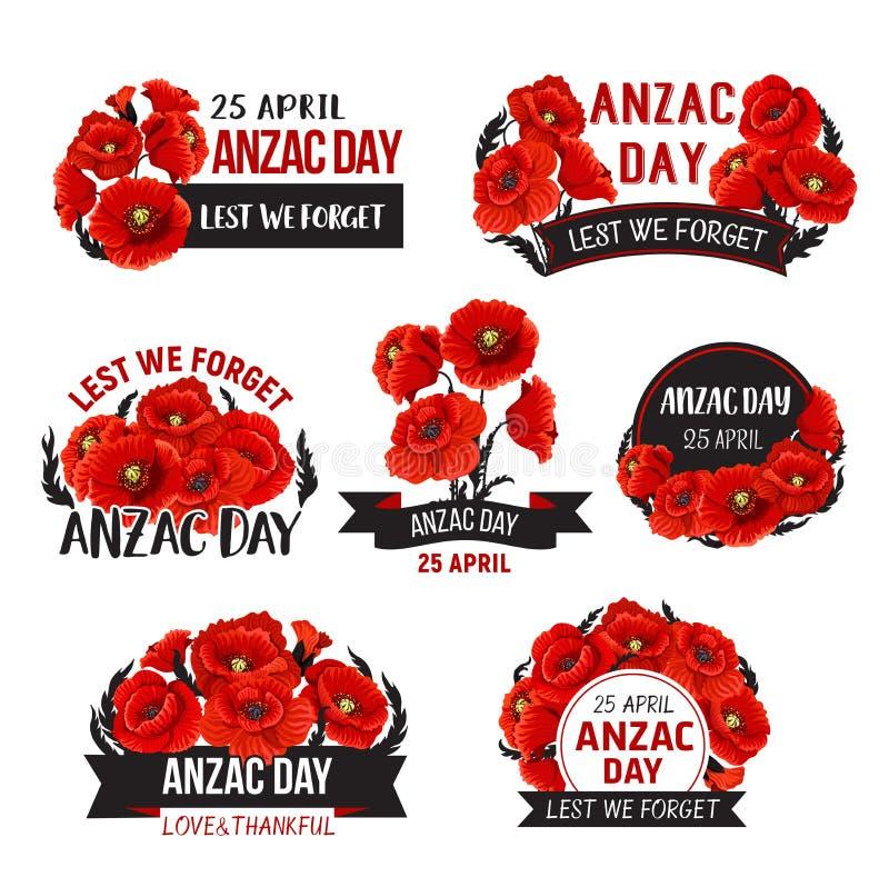 Anzac Day Lest We Forget-Mohnblumenvektor-Bandikonen stock abbildung