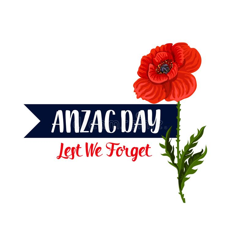 Download Anzac Day Lest We Forget-pictogram Van Het Papaver Het Vectorlint Vector Illustratie - Illustratie bestaande uit pictogram, genaturaliseerd: 107707242