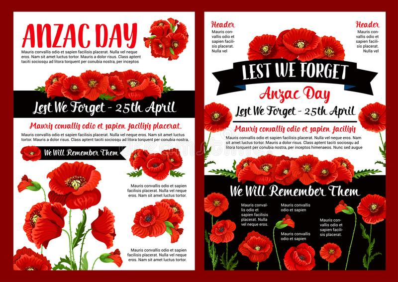 Anzac day memory banner of poppy flower and ribbon stock vector download anzac day memory banner of poppy flower and ribbon stock vector illustration of banner mightylinksfo