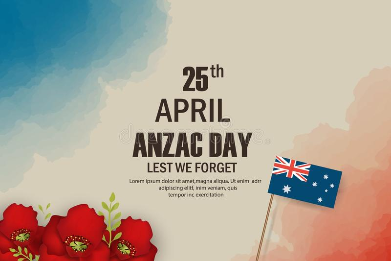 Anzac Day poppies memorial anniversary holiday in Australia, New Zealand war veterans memory. Anzac Day 25 April. Australian war remembrance day poster or stock illustration