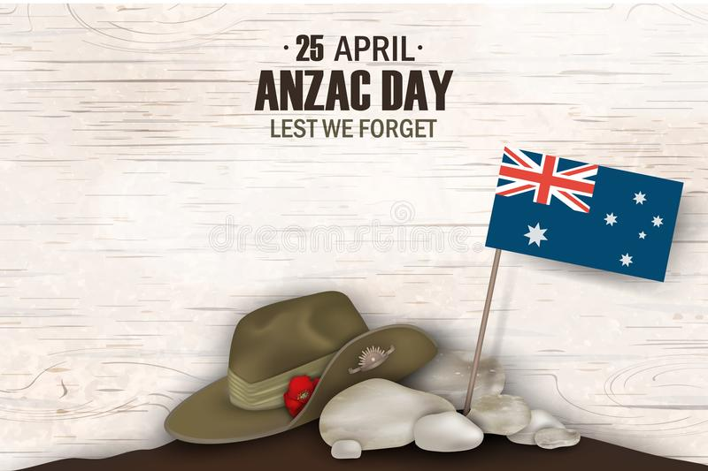 Anzac Day poppies memorial anniversary holiday. Lest we forget. Anzac Day 25 April Australian war remembrance day poster or greeti stock illustration