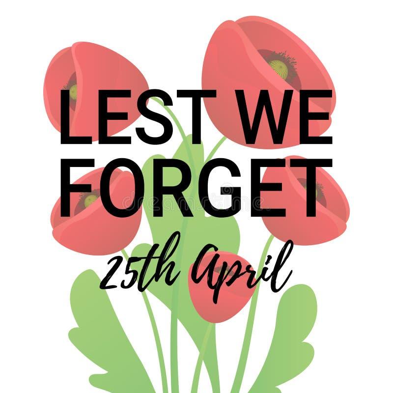 Anzac Day Poppy-banner, kaart Tenzij wij citaat vergeten 25ste April-datum royalty-vrije illustratie