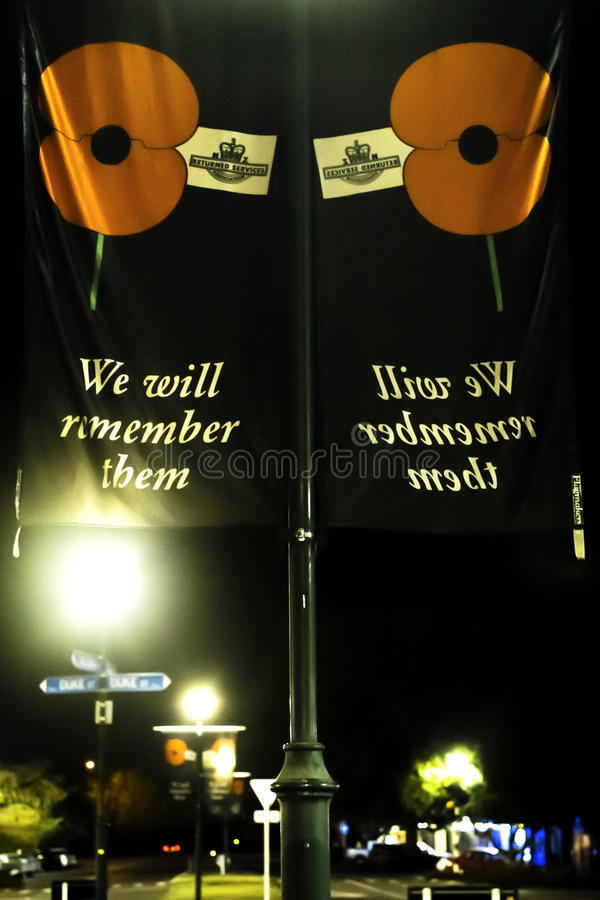 ANZAC Day remembrance flags under street lighting royalty free stock image