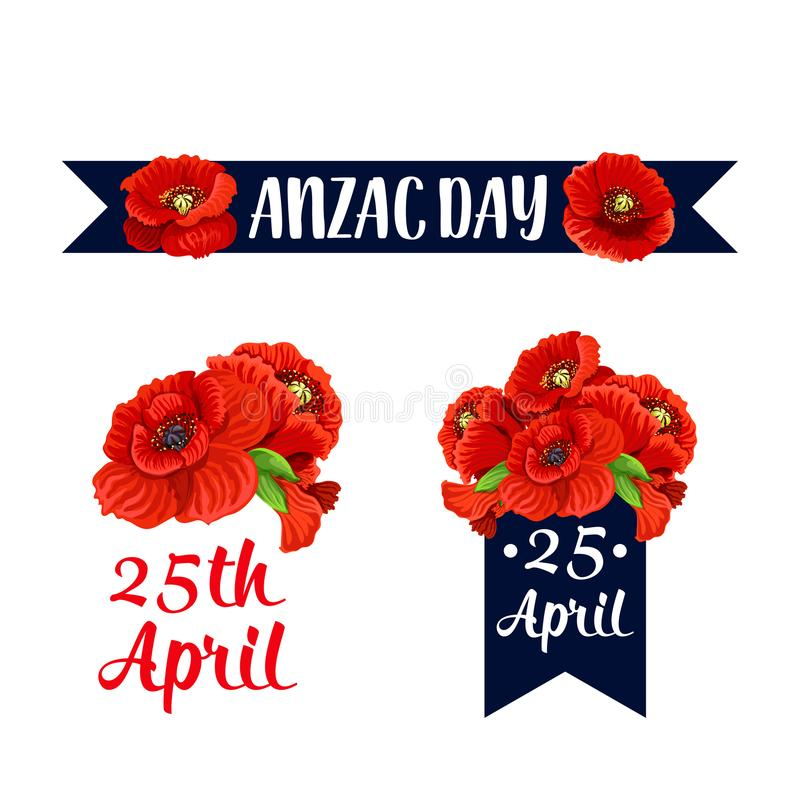 Download Anzac Day Rode De Papaver Vectorpictogrammen Van 25 April Vector Illustratie - Illustratie bestaande uit militair, brits: 107707398