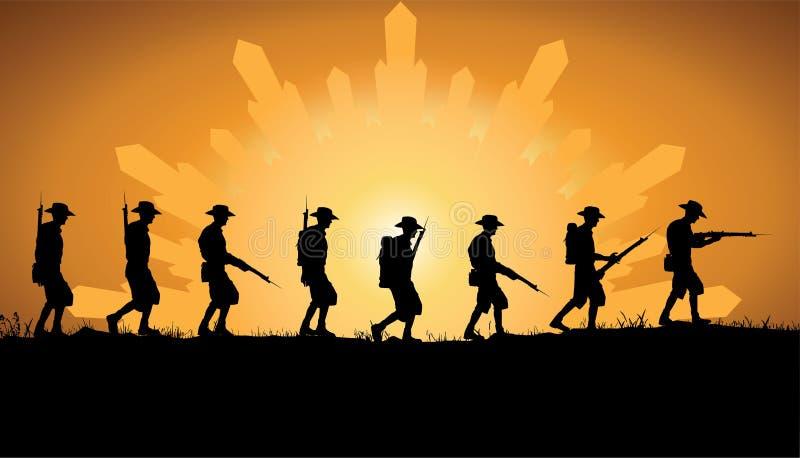 Anzac Day, soldados australianos da guerra mundial 1 ilustração stock