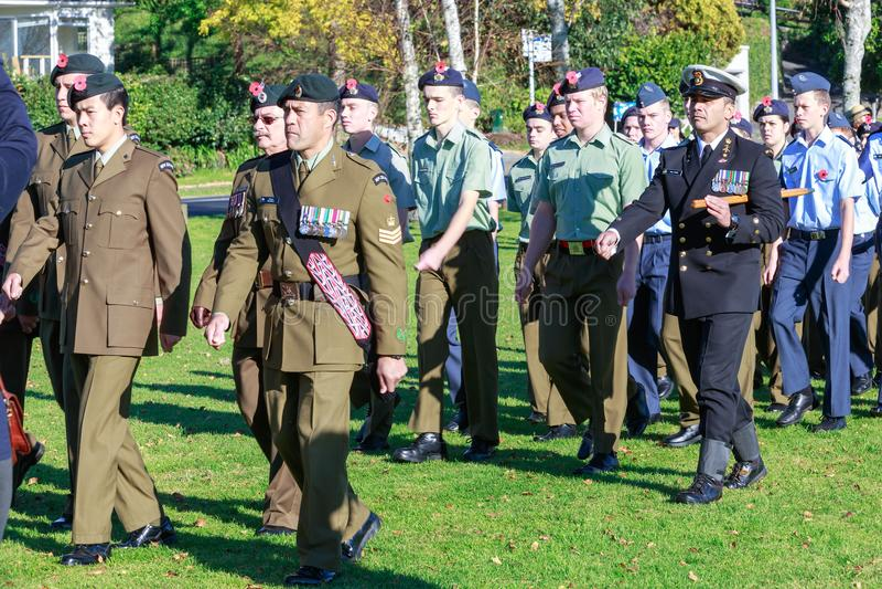 Anzac Day 2018, Tauranga, Nya Zeeland: Memorial Park royaltyfri fotografi