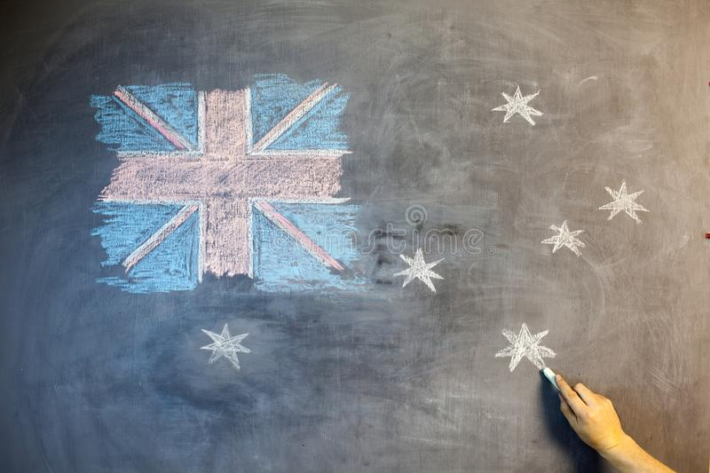 ANZAC Day text cut out over photo of Australian flag. royalty free stock images
