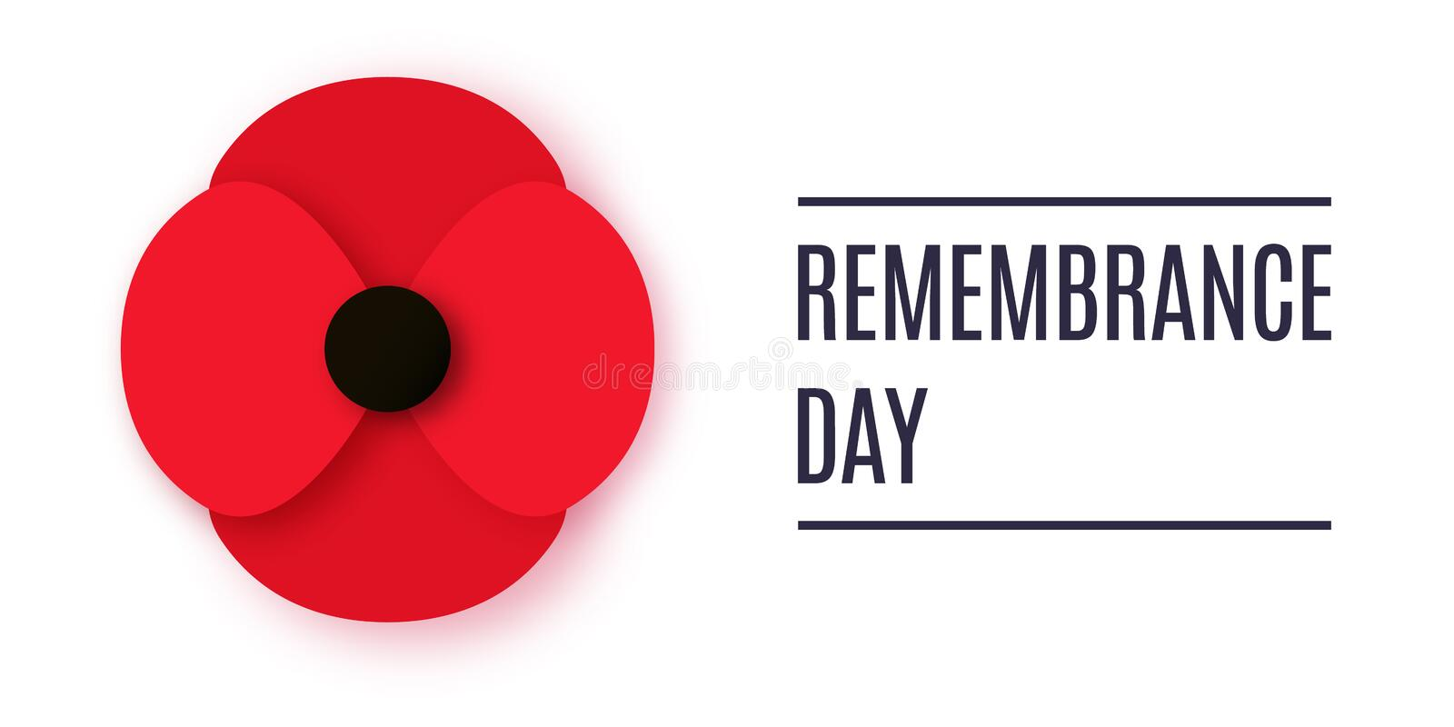 Anzac Day vector banner. Paper cut Red Poppy flower - a symbol of International Day of Remembrance. vector illustration