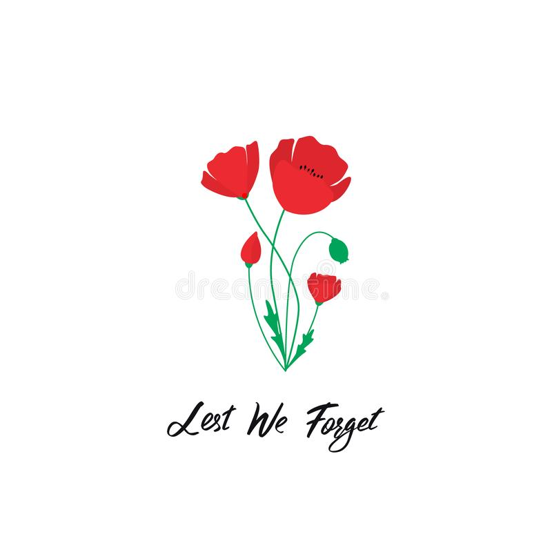 Anzac Day vector banner. Red Poppy flower illustration and lettering - Lest We forget. stock illustration