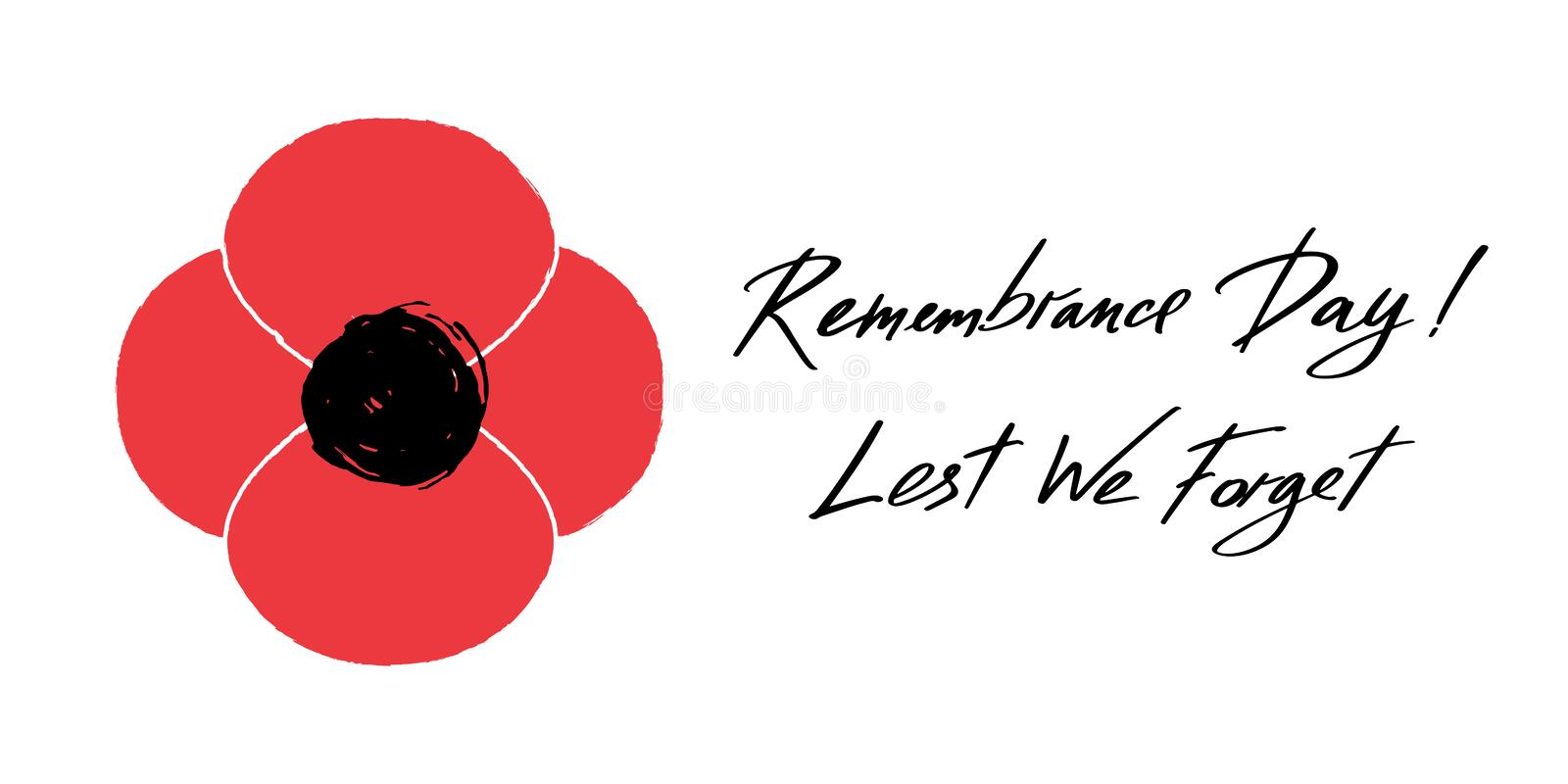 Anzac Day vector banner. Red Poppy flower illustration and lettering - Remembrance Day and Lest We forget. stock illustration